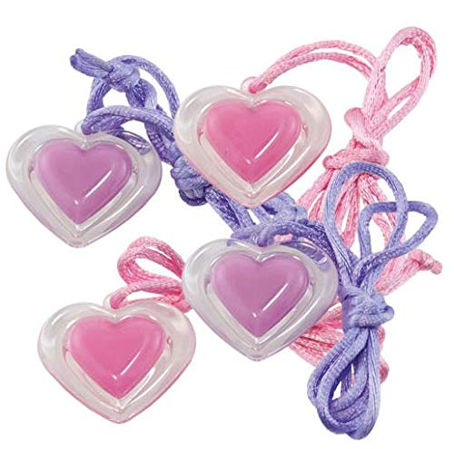 Giggle Time Girls' Heart Lip Gloss Necklace Assortment - (24) Pieces - Assorted Colors - for Kids, Boys, Party Favors, Pinata Stuffers, Children's Gift Bags, Carnival Prizes