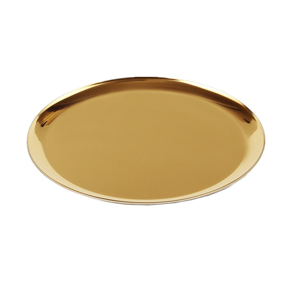 METAN Luxury Round Stainless Vanity Trays 11-Inch Bathroom, Dresser, Kitchen, Jewelry Desk Organizer Tray Serving Tray (Gold Color) by METAN