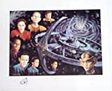 """Star Trek Deep Space 9 Collage SIGNED Lithograph """"The Final Frontier"""" with Captain Sisko Jake Sisko Odo Doctor Bashir Chief OBrien Quark Major Kira Jadzia Dax the Station & the worm hole"""