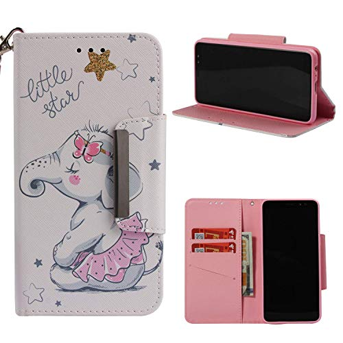 NVWA Compatible LG Stylo 4 Case, LG Q Stylus Case, PU Leather Wallet Phone Case [Kickstand Wrist Strap][Credit Card Slot] Magnetic Closure Stand Flip Full Body Protective Cover (Skirt Baby Elephant)