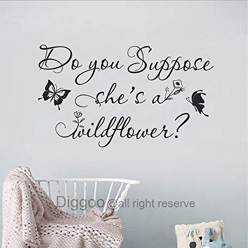 (Diggoo Do You Suppose She's A Wildflower Wall Decal Butterfly Wall Decal Floral Nursery Decor Girls Room Decal (Black,9.5