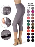 SATINA High Waisted Super Soft Capri Leggings - 20 Colors - Reg & Plus Size (One Size, Lilac Gray)