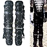 MJ Michael Jackson Costume History Tour Handmade Golden Metal Leg Armor Kneepads for Party Concert Stage Dance Ballroom (Black)