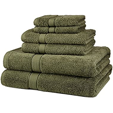 Pinzon Blended Egyptian Cotton 6-Piece Towel Set, Moss