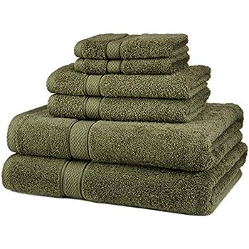 Pinzon 6 Piece Blended Egyptian Cotton Bath Towel Set - Moss