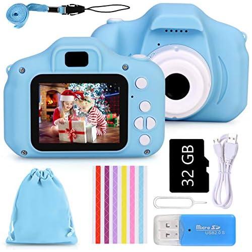chollos oferta descuentos barato Faburo Set de Cámara de Fotos Digital Infantil con Tarjeta de Memoria Micro SD 32GB 1080P Azul