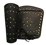 RedSkyTrader Mens Leather Arm Guard Set with Brass One Size Fits Most Black