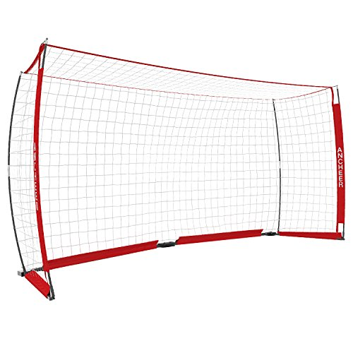 ANCHEER 12 x 6 ft Soccer Goal Portable and Foldable Soccer Goal Net with Carry Bag, Red