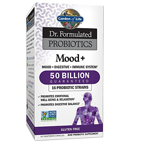 Garden of Life - Dr. Formulated Probiotics Mood+ - Acidophilus Probiotic Promotes Emotional Health, Relaxation, Digestive Balance - Gluten, Dairy, and Soy-Free - 60 Vegetarian Capsules (Shipped Cold)