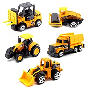 5pcs Assorted Construction Die Cast Metal Alloy Car Models Mini Play Vehicles Truck Cars Toy for Kids Toddlers Boys Yellow(Styles May Vary)