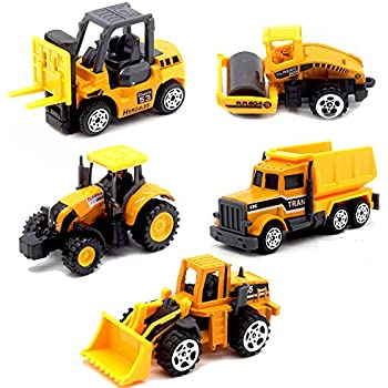 5pcs assorted construction die cast metal alloy car models mini play vehicles truck cars toy for