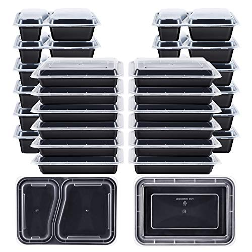 Kootek [26 Pack] Meal Prep Containers with Lids (30oz & 35oz), 2 & 1 Compartment Food Storage Sets Food Grade Lunch Case Durable Stackable Bento Boxes, Microwaveable, Dishwasher and Freezer Safe