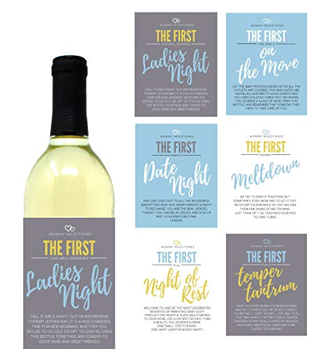 6 Mommy's First Milestone Wine Labels and Stickers, Great Baby Shower and Pregnancy Gift Ideas for Mom To Be, Funny Mom's First Moments After Having New Baby Girl or Boy - By Harper & Ivy Designs