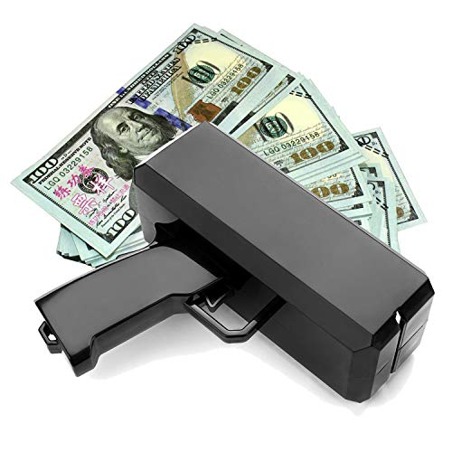 Wowok Black Money Gun with 10,000$ Fake Money, Super Money Guns Paper Playing Spary Money Gun Make it Rain Toy Gun Cash Gun for Game Party Supplies(Battery Included) by Wowok (Image #5)