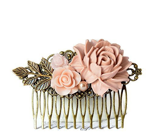 Amazon bridal hair comb in pink with flowers wedding prom retro bridal hair comb in pink with flowers wedding prom retro mightylinksfo