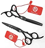 Purple Dragon 5.5/6.0 inch 440C Hair Cutting Scissors and Thinning Shears with Bag - Perfect for Professional Hairdresser or Family Use (5.5 inch, Black)