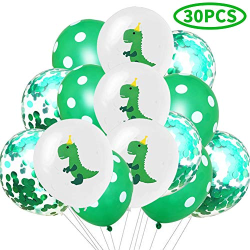 Dinosaur Latex Balloons and Confetti Balloons - Dino Baby Shower/Birthday Party Decorations Jungle Jurassic Party Supplies(30 Packs)