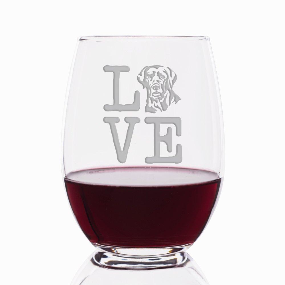 Love Labrador Engraved Stemless 21 oz Wine Glass - 4pcs by Mic & Co