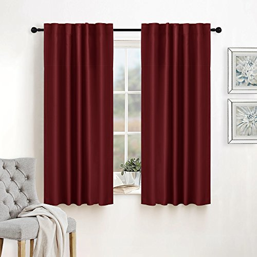 Kitchen Window Treatment Curtain Drapes - RYB HOME Back Tab / Rod Pocket Solid Thermal Insulated Blackout Curtain Panels for Wedding / Holiday / Nursery, 42