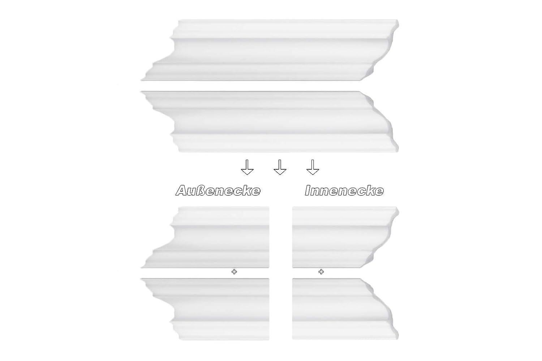 DL80 Paquet /Économies Moulure en Stuc Bande D/écorative Coin Bar Stuc Dur Styro Mousse 80x80mm blanc 100 Meter // 50 Faire