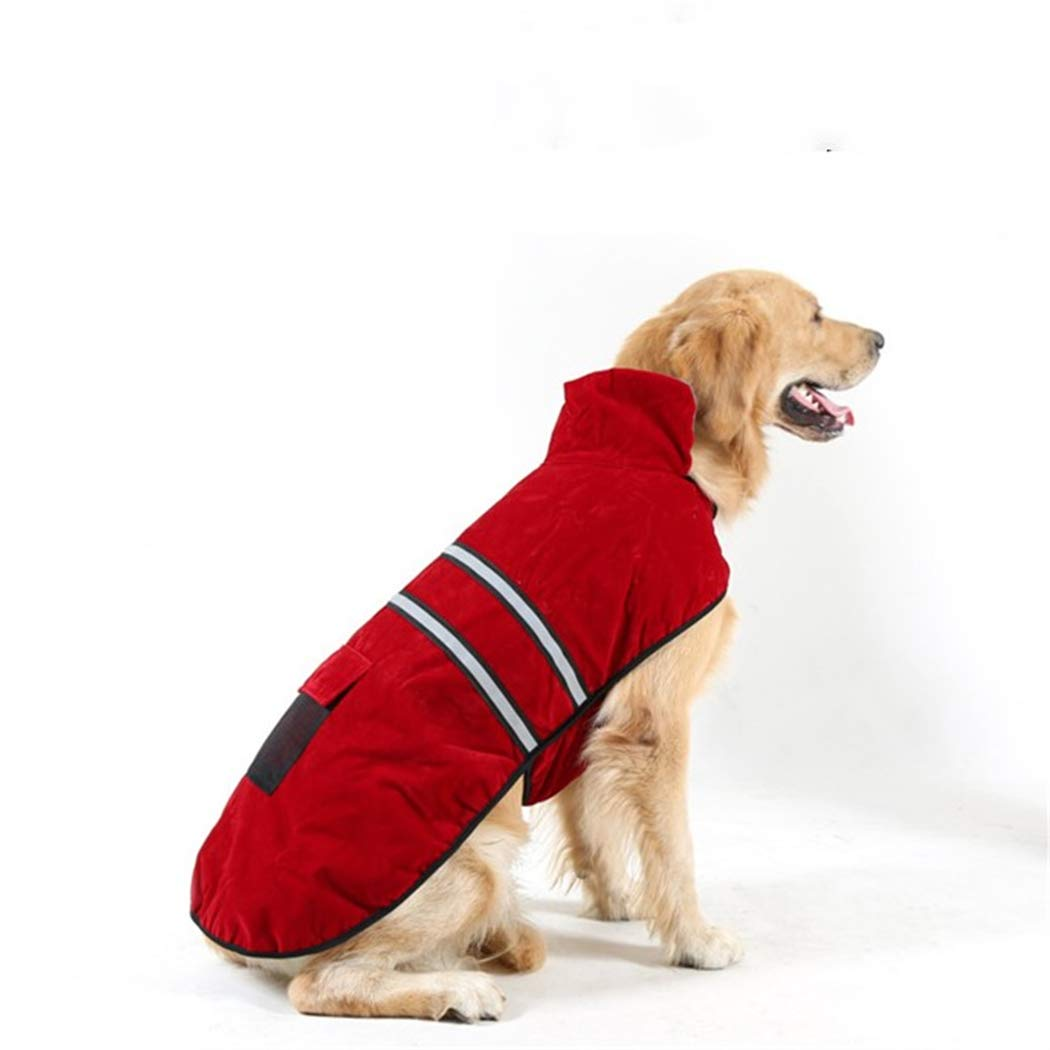 Red X-Large Red X-Large Large Pet Dog Clothing in Autumn and Winter, Outdoor Windproof Comfort Warm, Reflective Belt Decoration Safe Travel,Red,XL