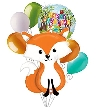 happy birthday fox Amazon.com: 7 pc Woodland Fox Happy Birthday Animals Balloon  happy birthday fox