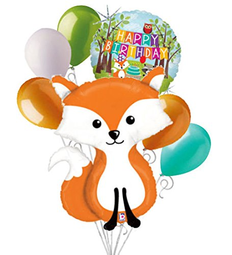 7 pc Woodland Fox Happy Birthday Animals Balloon Bouquet Party Decoration Woods