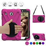BRAECN Galaxy Tab E 8.0 Case 360 Degree Rotation Stand/a Hand Strap and a Shoulder Strap Case [Shock Proof] Hybrid pc+Silicone Cover for Sansung Galaxy Tab E 8.0 SM-T377/T375 Case (Rose red)