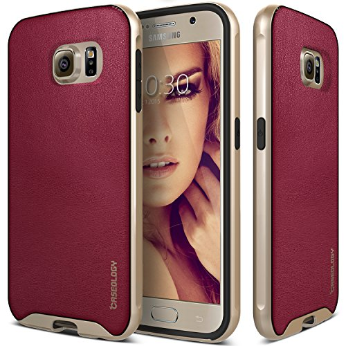 Galaxy S6 Case, Caseology [Envoy Series] Classic Rich Texture Leather [Burgundy Red] [Luxury Slim] for Samsung Galaxy S6