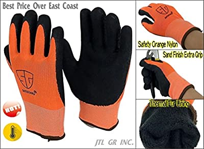 6 Pairs Orange Winter Thermal Double Lined Black Rubber Work Glove