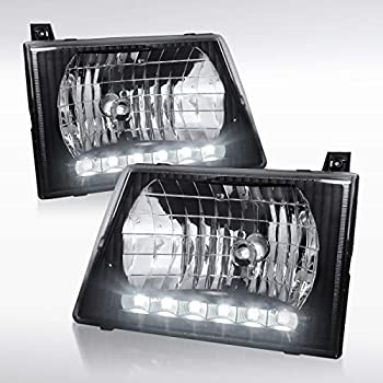 Autozensation Ford E150/E250/E350/E450/E550 Econoline Van Black Crystal Headlights