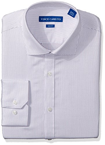 Vince Camuto Men's Slim Fit Dobby Dress Shirt, Burgundy/Navy Digital Stripe, 15.5