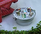 CHSGJY Miniature Dollhouse Fairy Garden Accessories ~ Tub with Ice & Beer Cans