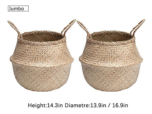 Woven Seagrass Belly Basket With Handle, Storage Plant Pot Panier ,Folding Toto Bag By Storageworks, Jumbo,Natrua,2-Pack