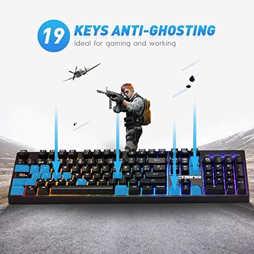VicTsing RGB Backlit Wired Gaming Keyboard, Mechanical Feeling Gaming Keyboard with Anti-ghosting,12 Multimedia Keys, Spill-Resistant Design for PC/Laptop/Desktop, Black