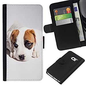 All Phone Most Case / Oferta Especial Cáscara Funda de cuero Monedero Cubierta de proteccion Caso / Wallet Case for Samsung Galaxy S6 EDGE // Cute Cool Puppy Dog