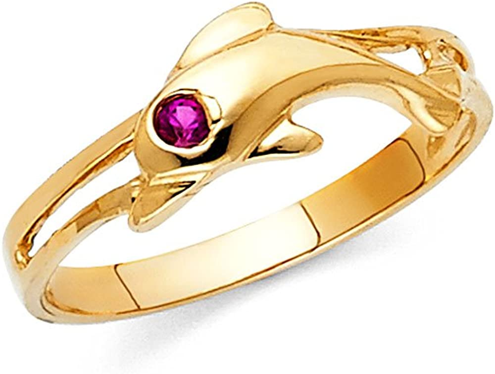 14K Solid Yellow Gold CZ Fancy Dolphin Ring Ioka