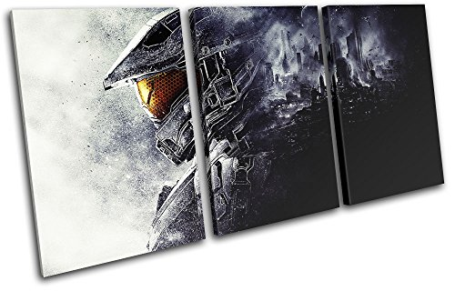 Bold-Bloc-Design-Halo-5-Chief-Gaming-TREBLE-Canvas-Art-Print-Box-Framed-Picture-Wall-Hanging-Hand-Made-In-The-UK-Framed-And-Ready-To-Hang