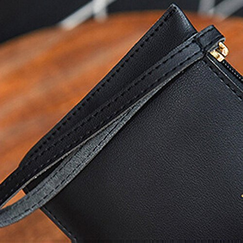 Fashion Women's Bag GINELO Phone Leather Coin Handbag Black wallet Bag Messenger Bags wqEFUq