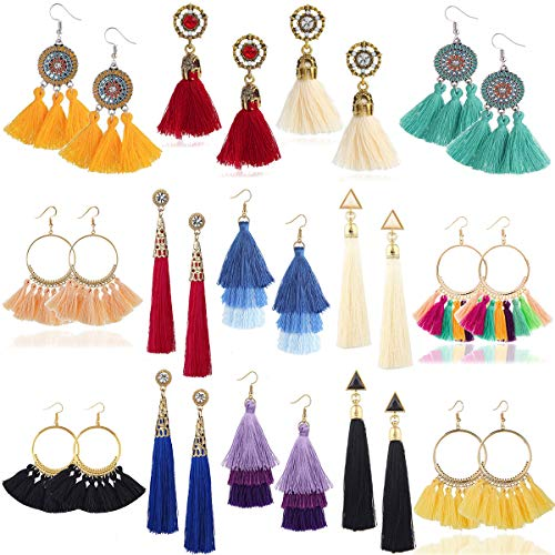 WAINIS 14Pairs Colorful Multiple Boho Tassel Dangle Earrings for Women Girls Fringe Tiered Tassel Drop Earrings