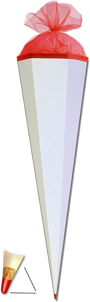 Schult/üte Bastelschult/üte 35 cm zum Basteln Wei/ß // Blau Unbekannt Schult/üte einfarbig Rohling Uni mit Filzabschlu/ß Bemalen und Bekleben