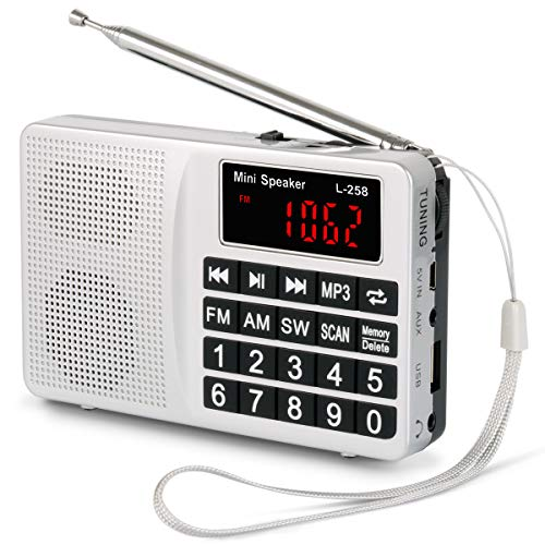 PRUNUS Small Portable Radio AM FM SW Digital Rechargeable Radio with Neodymium Speaker, Large Buttons, Support USB SD TF Card MP3 Player(Silver)