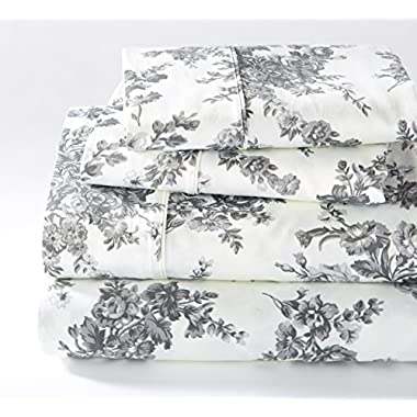 Wingate Collection 400 Thread Count Cotton Rich Printed Luxury Sheet Set By Home Fashion Designs (Queen, Gray)