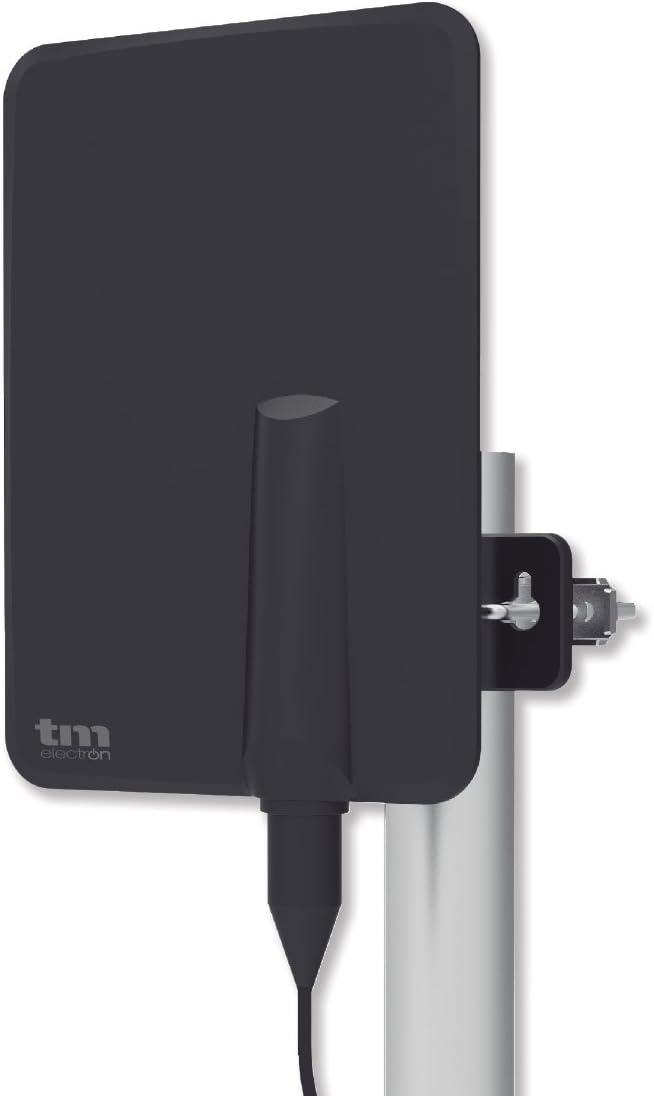 TM Electron TMANT015 Antena para Televisor de Interior o Exterior, con Amplificador Incorporado 40 dB, Ultra Compacta, Orientación 360º, Montaje en ...