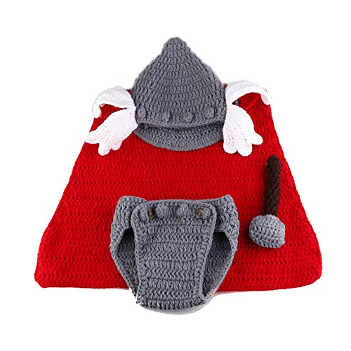 Leo Skye Thor Costume Crochet Knit Outfits 0 to 3 Months Newborn Photography Props (Thor)]()