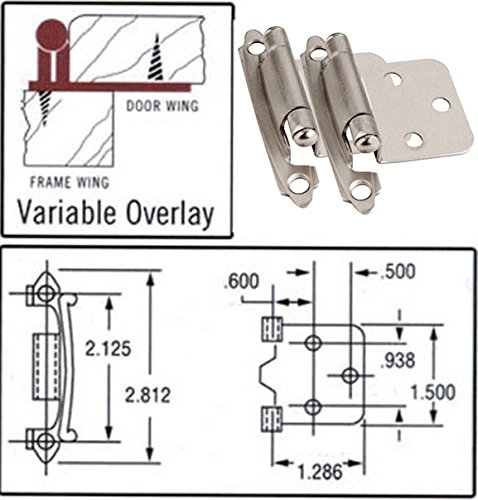 25 Pair Pack - Cosmas 17139-SN Satin Nickel Hinge Variable Overlay [17139-SN] - 50 Total Hinges