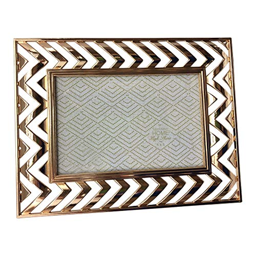 Sheffield Home Photo Frame Picture 4 by 6 Gold Table Top Horizontal Vertical Chevron Zig Zag Open Work Shiny Metal (Chevron Pictures)