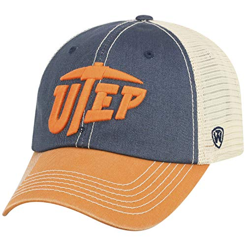 - Top of the World Men's Relaxed Fit Adjustable Mesh Offroad Hat Team Color Icon, Texas El Paso Miners Orange,