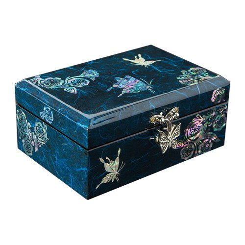 Nacreh Inlay Mother of Pearl Jewelery Storage Chest Wooden Box Couple of Butterfly Jewelry Mirror Box Arabesque Design Keepsake Treasure Gift Box Trinket Case Organizer (Blue)