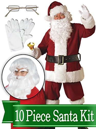 Santa Suit – Crimson Deluxe Complete 10 Piece Kit - Santa Costume Plush -